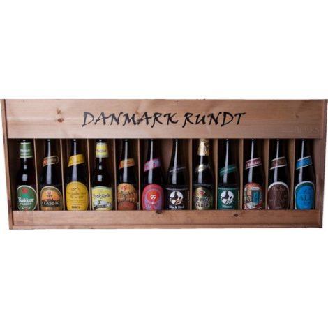 Danmark Rundt - 12 stk. danske øl i flot trækasse