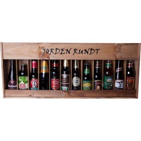 Jorden Rundt - 12 stk. øl i flot trækasse